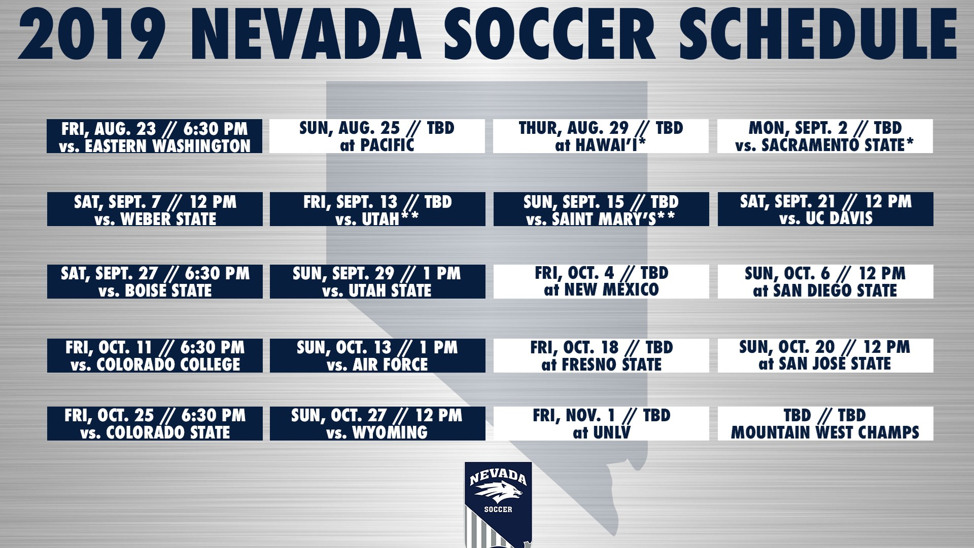 Nevada soccer announces 2019 schedule - University of Nevada